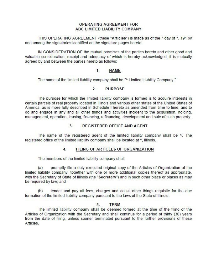 Operating Agreement Llc Template 30 Free Professional Llc Operating Agreement Templates