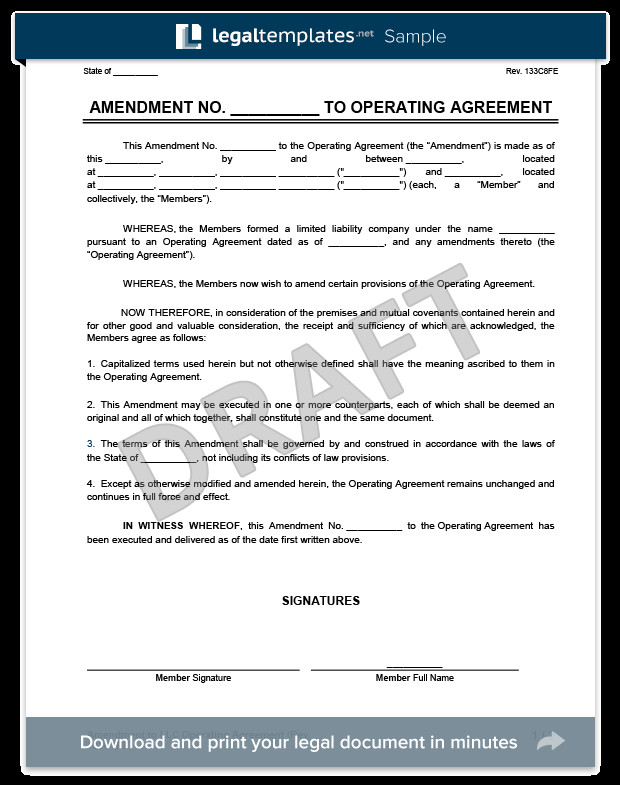 Operating Agreement Llc Template Amendment to An Llc Operating Agreement