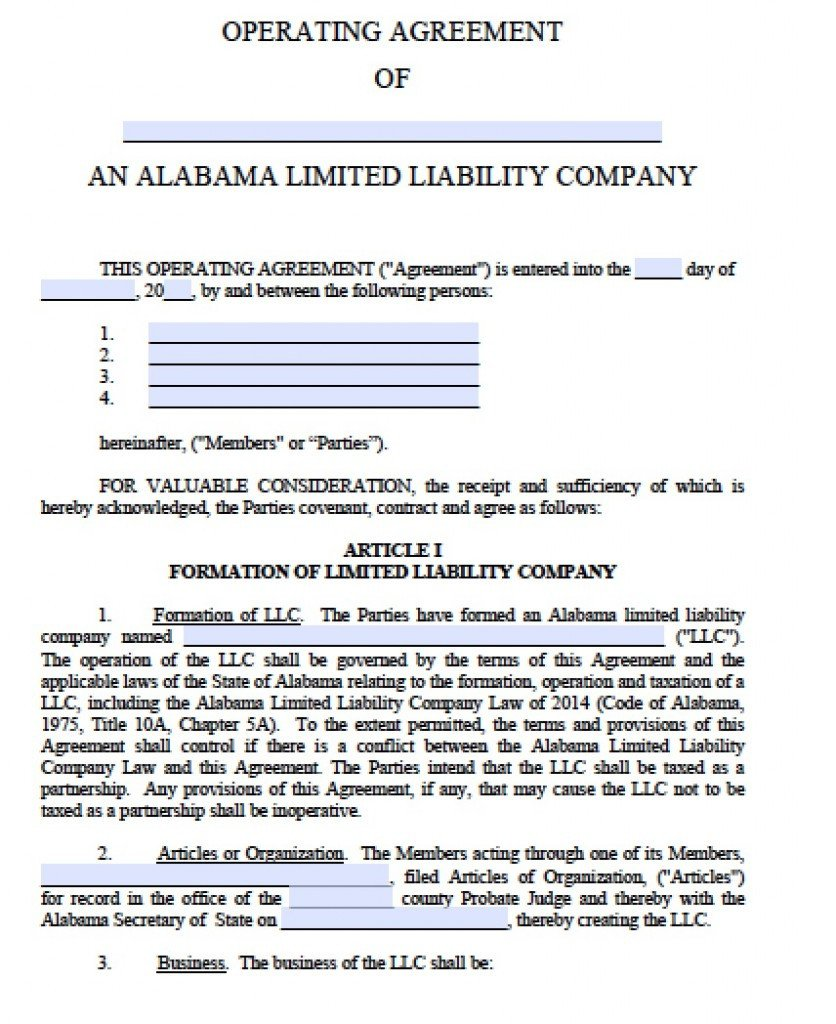 Operating Agreement Llc Template Free Alabama Llc Operating Agreement Template Pdf