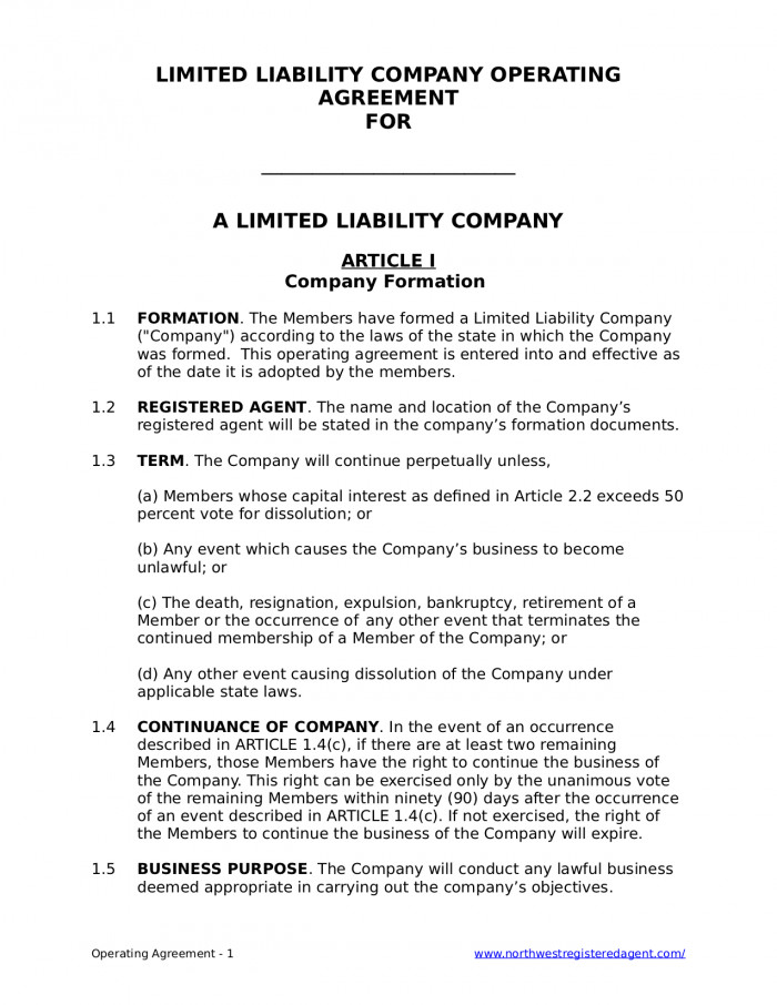 Operating Agreement Llc Template Free Llc Operating Agreement for A Limited Liability Pany