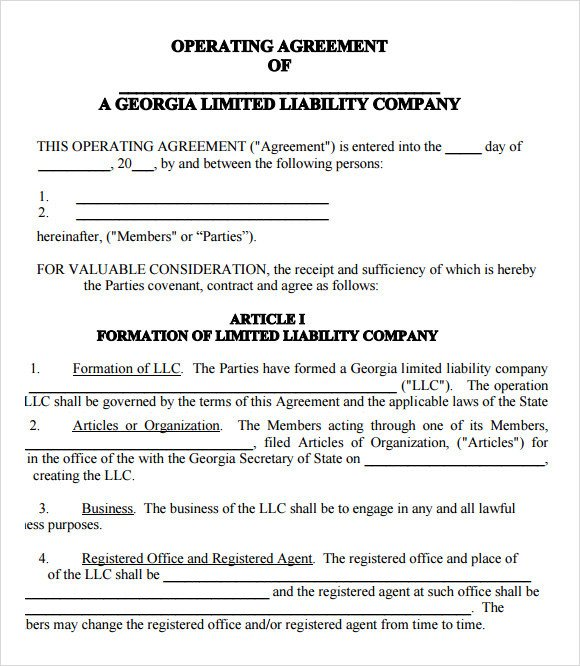 Operating Agreement Llc Template Llc Operating Agreement 11 Download Free Documents In