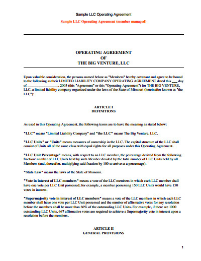 Operating Agreement Llc Template Llc Operating Agreement Template Free Download Create