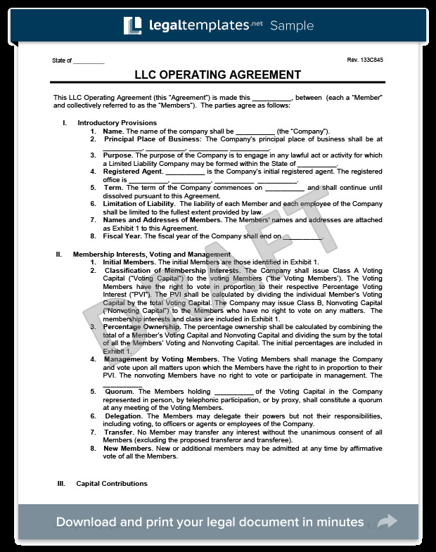 Operating Agreement Llc Template Llc Operating Agreement Template