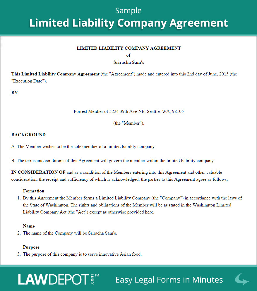 Operating Agreement Llc Template Llc Operating Agreement Template Us