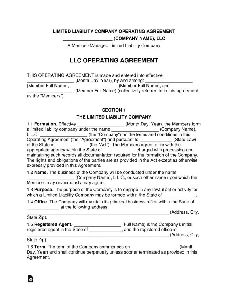 Operating Agreement Llc Template Multi Member Llc Operating Agreement Template