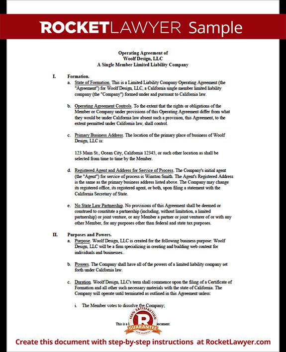 Operating Agreement Llc Template Single Member Llc Operating Agreement