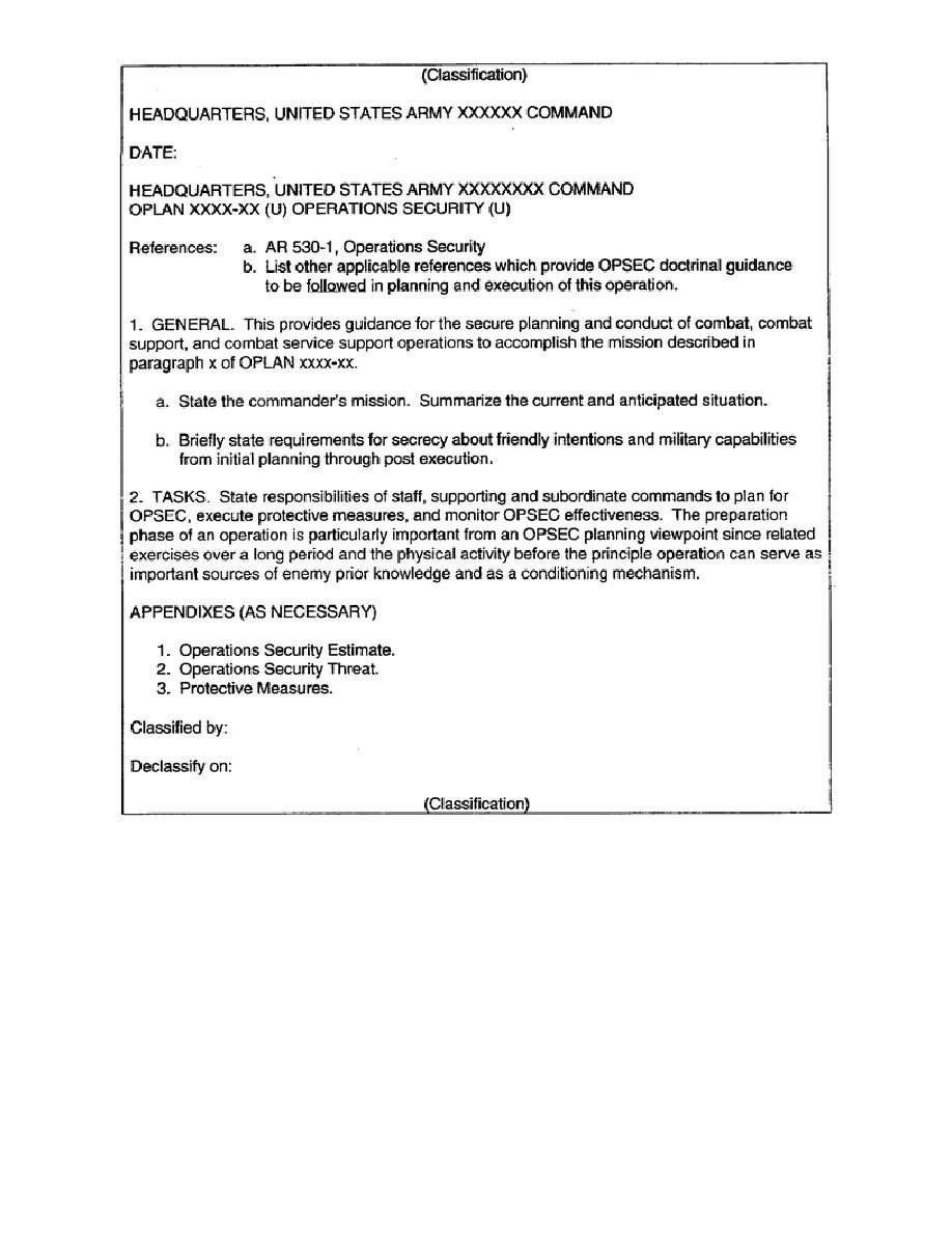 Opsec Plan Template Figure 1 4 Sample Outline for An Opsec Plan