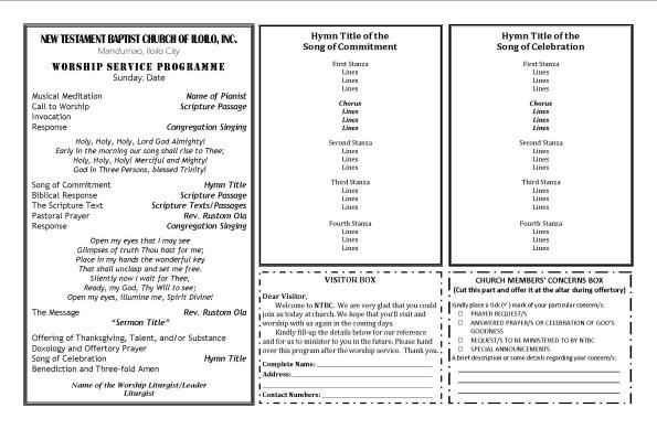 Order Of Worship Service Template Ntbc forms