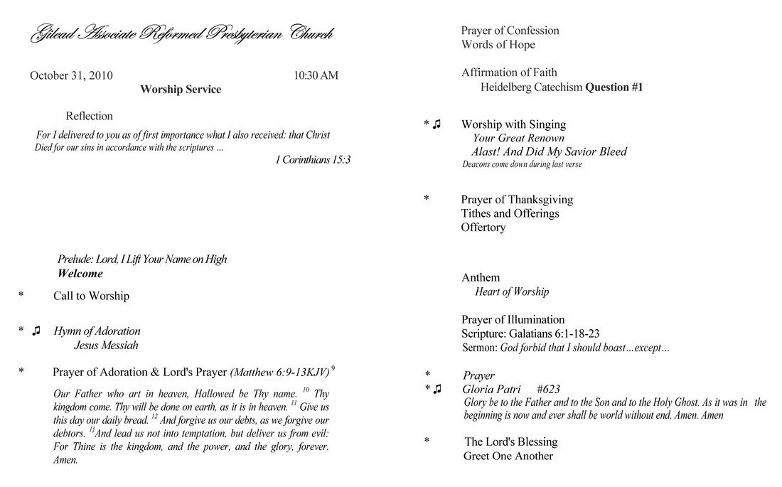 Order Of Worship Service Template order Of Worship Gilead associate Reformed Presbyterian