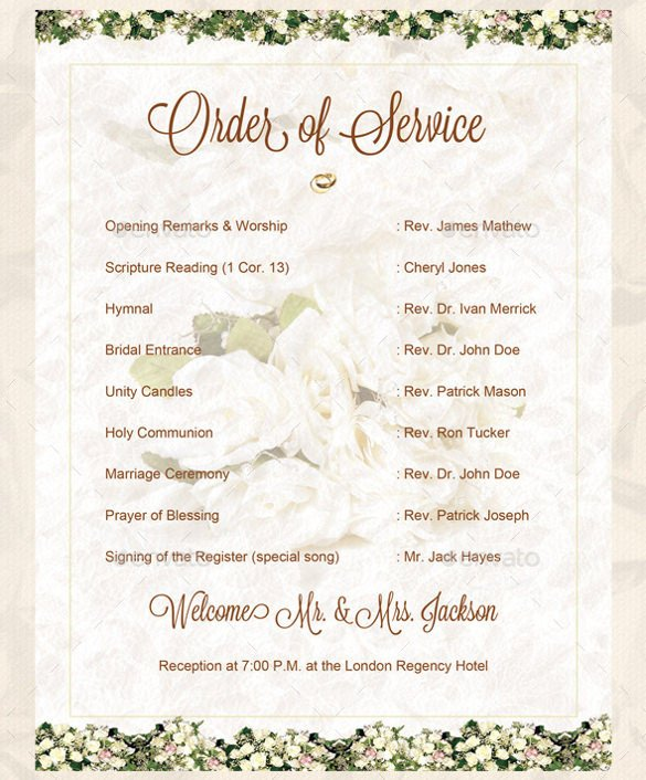 Order Of Worship Service Template Wedding order Template – 38 Free Word Pdf Psd Vector