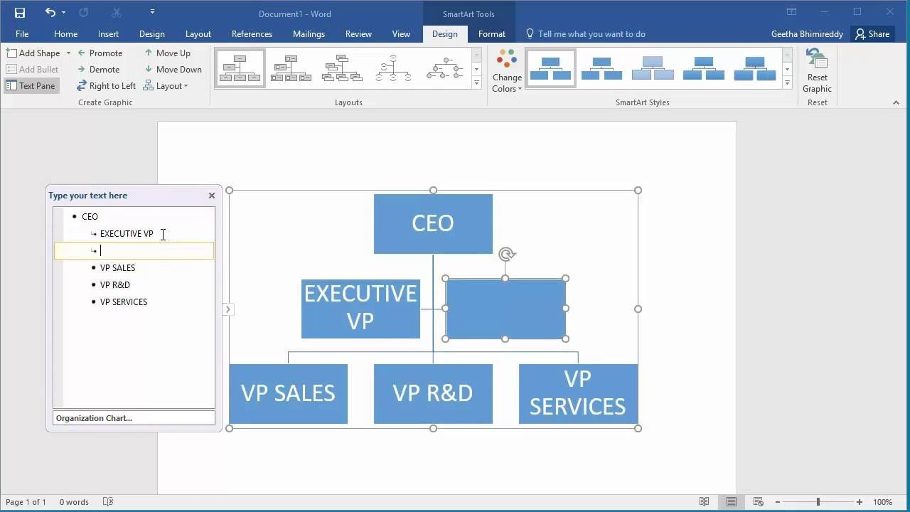 Organizational Chart Template Word How to Create An organization Chart In Word 2016