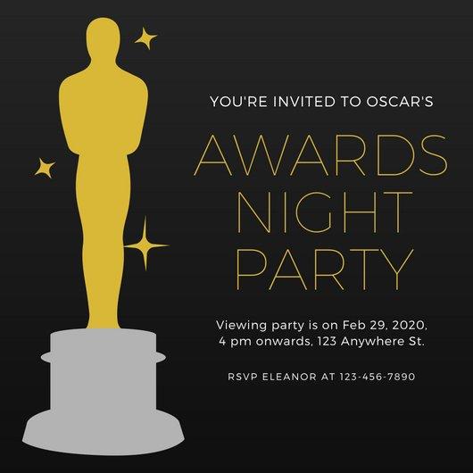 Oscar Statue Template Invitation Templates Canva