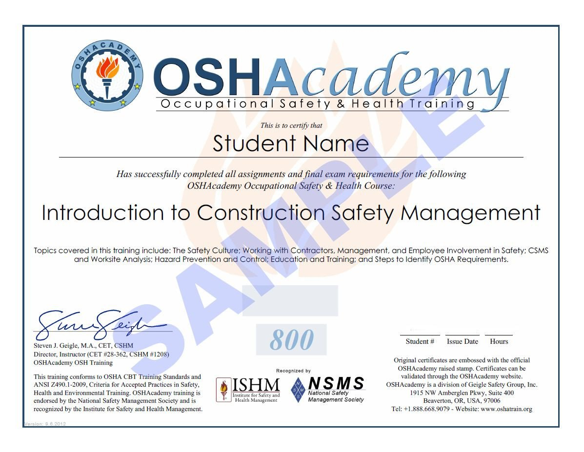 Osha 10 Card Template 21 Of Osha Training Card Template for Contruction