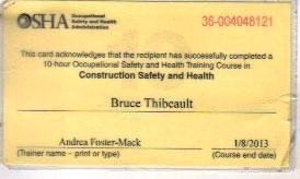 Osha 10 Card Template Bruce Thibeault Painting Contractors In Nh