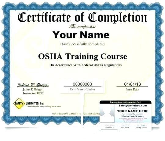 Osha 10 Card Template Osha 10 Certificate Template