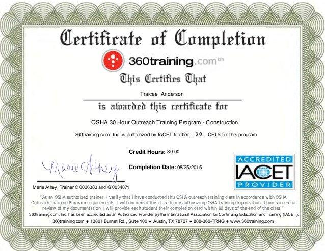 Osha 10 Card Template Osha 30 Certificate