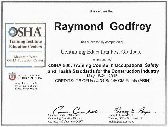 Osha 10 Card Template Osha 500 2015 Ray Godfrey Certificate