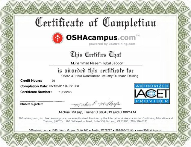 Osha 10 Card Template Osha Certificate