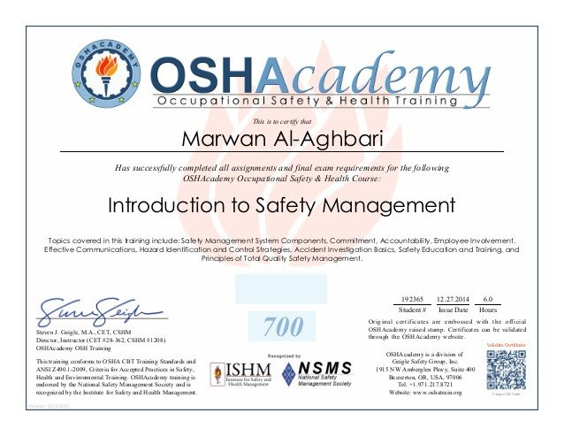 Osha 10 Card Template Oshacademy Introduction to Safety Management Certificate