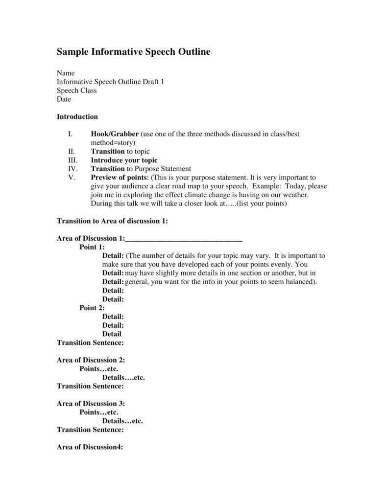 Outline for Informative Speech 7 Informative Speech Outline Templates Pdf