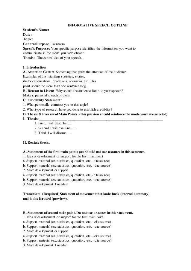 Outline for Informative Speech Informative Speech Outline Sample