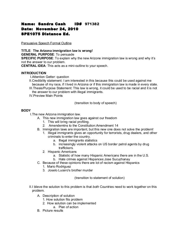 Outline for Informative Speech Persuasive Speech formal Outline