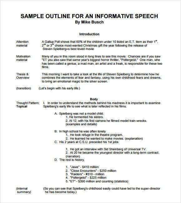 Outline for Informative Speech Sample Informative Speech 11 Documents In Pdf Word