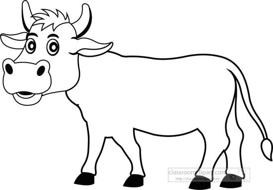 Outline Of A Cow Animals Black and White Outline Clipart Cow Outline