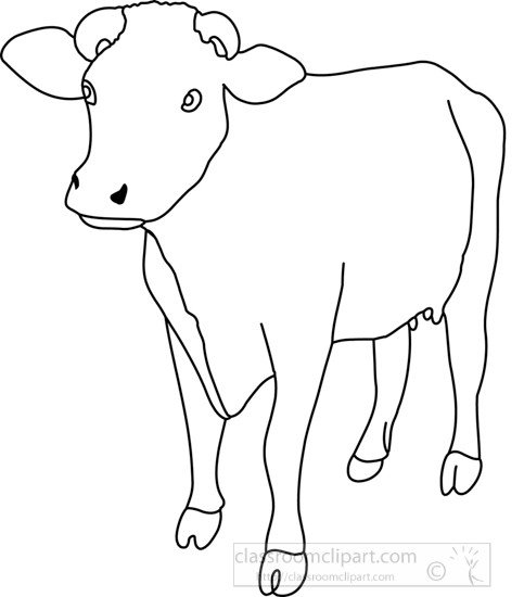 Outline Of A Cow Animals Cow Front View 4a Outline Classroom Clipart