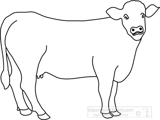 Outline Of A Cow Animals Cow In Pasture Outline Classroom Clipart