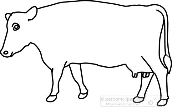 Outline Of A Cow Animals Cow On Grass 1 Outline Classroom Clipart