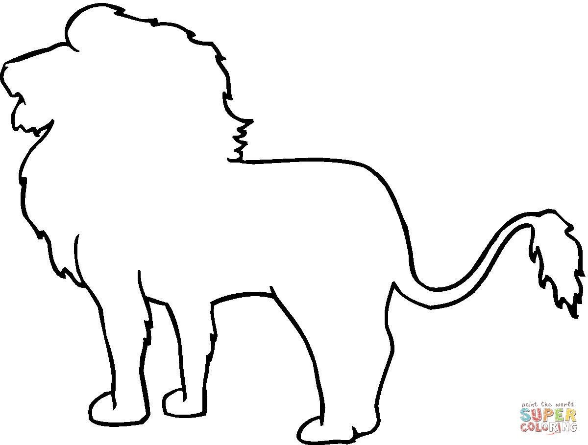 Outline Of A Lion Animal Outline Drawings