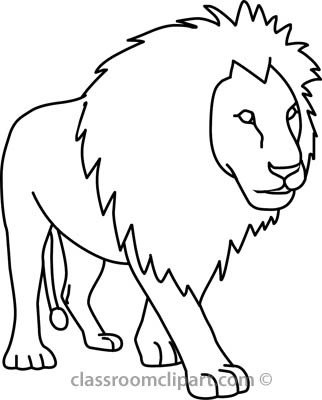 Outline Of A Lion Animal Reading Clipart Black and White