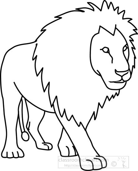 Outline Of A Lion Animals Lion 01a Outline Classroom Clipart