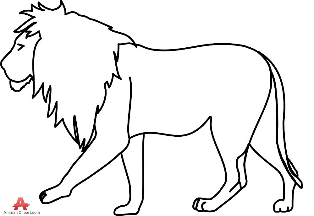 Outline Of A Lion Lion Black and White Outline Lion Clipart Drawing Free