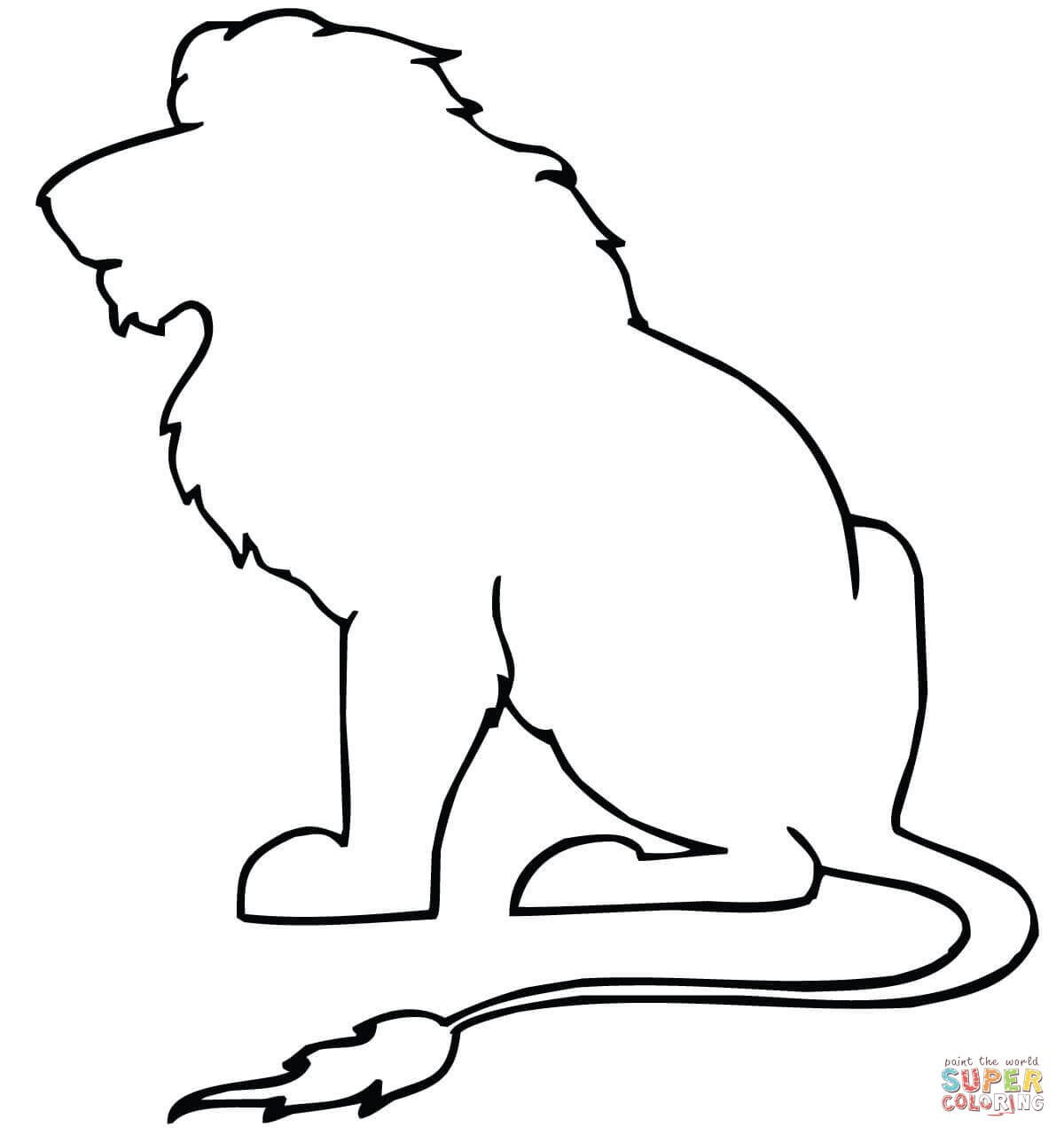 Outline Of A Lion Sitting Lion Outline Coloring Page