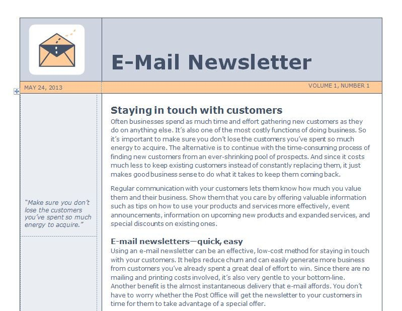 Outlook Email Newsletter Template Email Newsletter Template