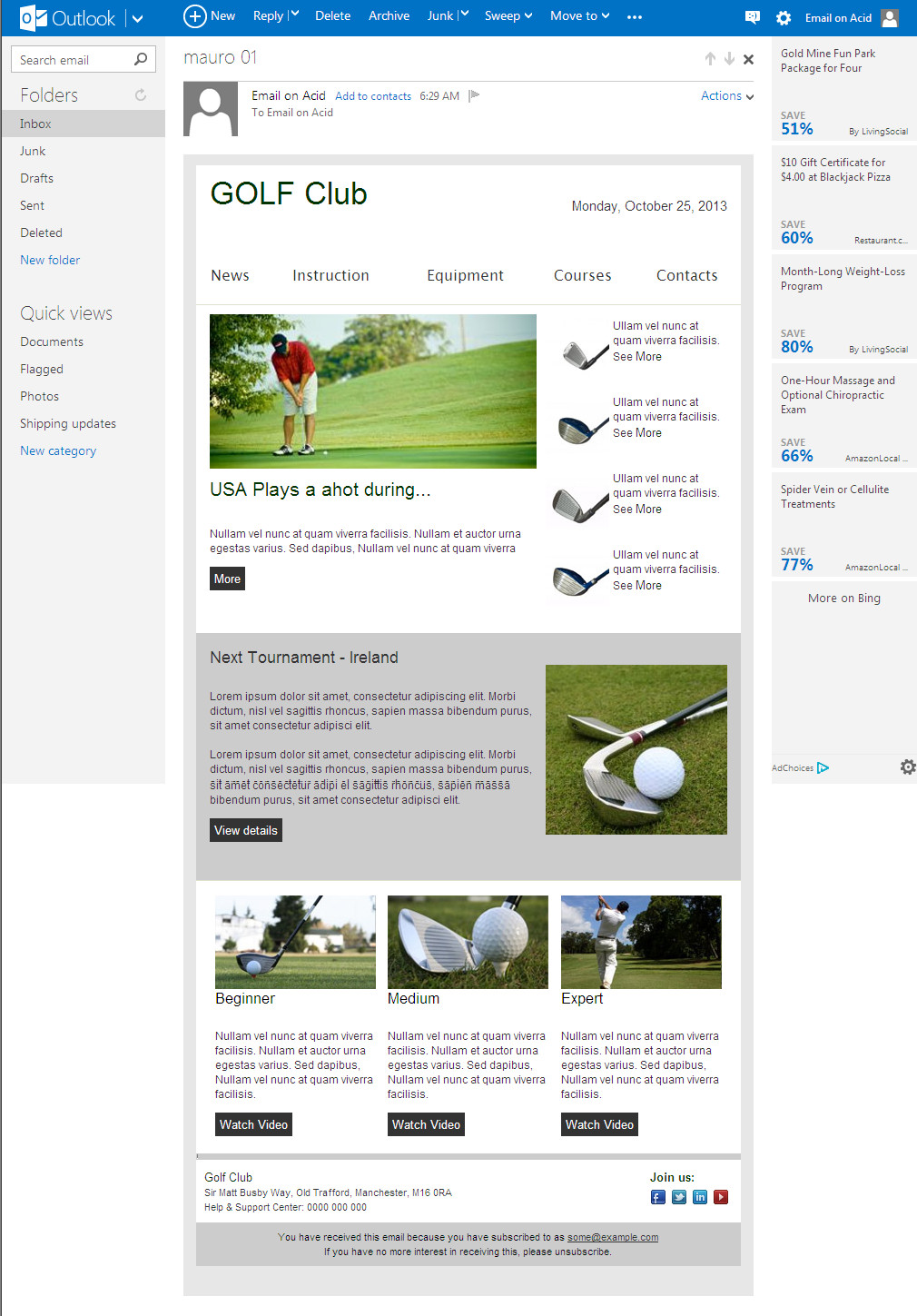 Outlook Email Newsletter Template Email Newsletter Template Patibility Test