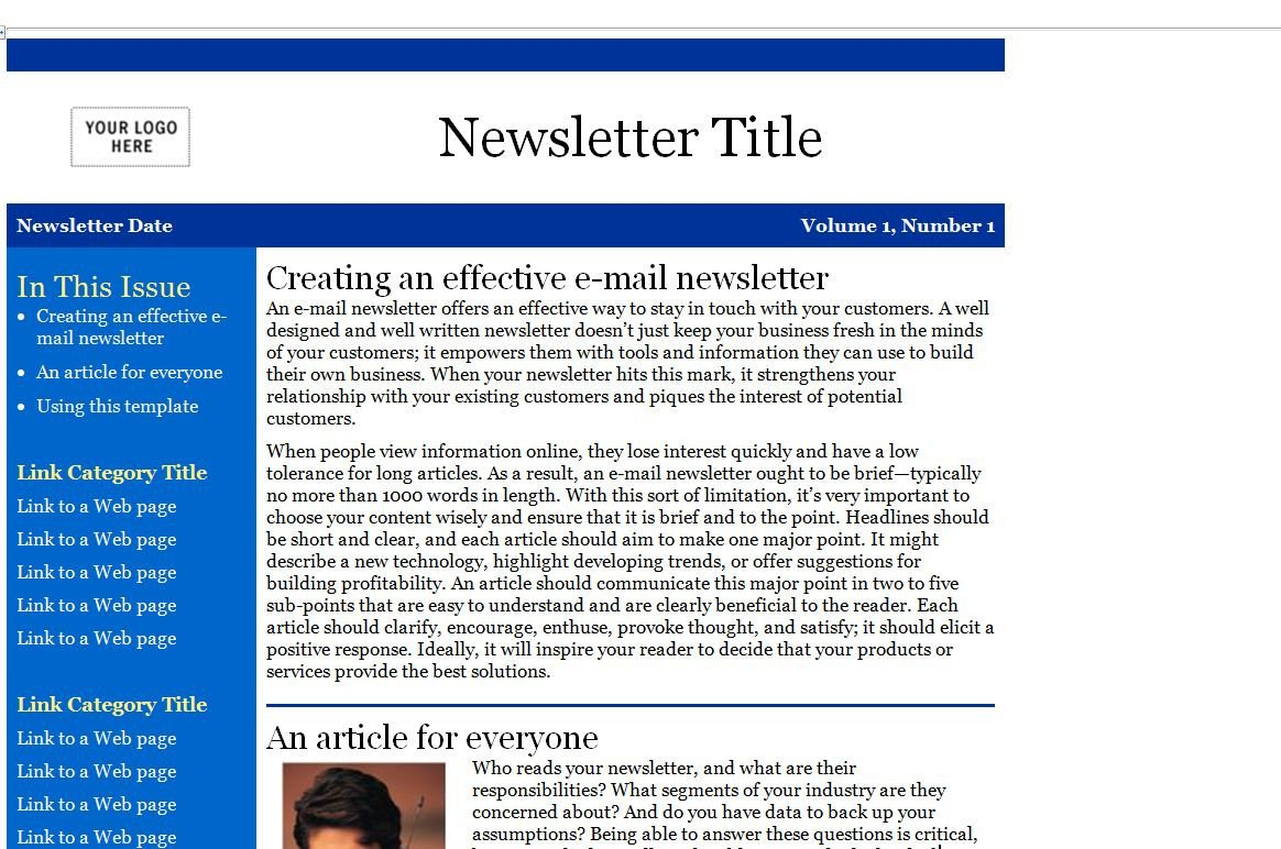 Outlook Email Newsletter Template Email Newsletter Templates Slim Image