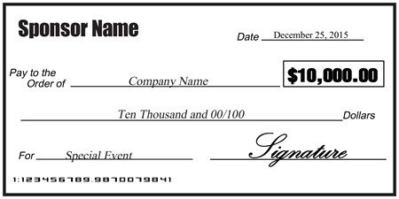 Oversized Check Template Free Blank Sponsorship Check Signazon