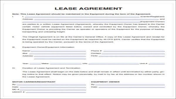 Owner Operator Contract Template 7 Owner Operator Lease Agreement Samples