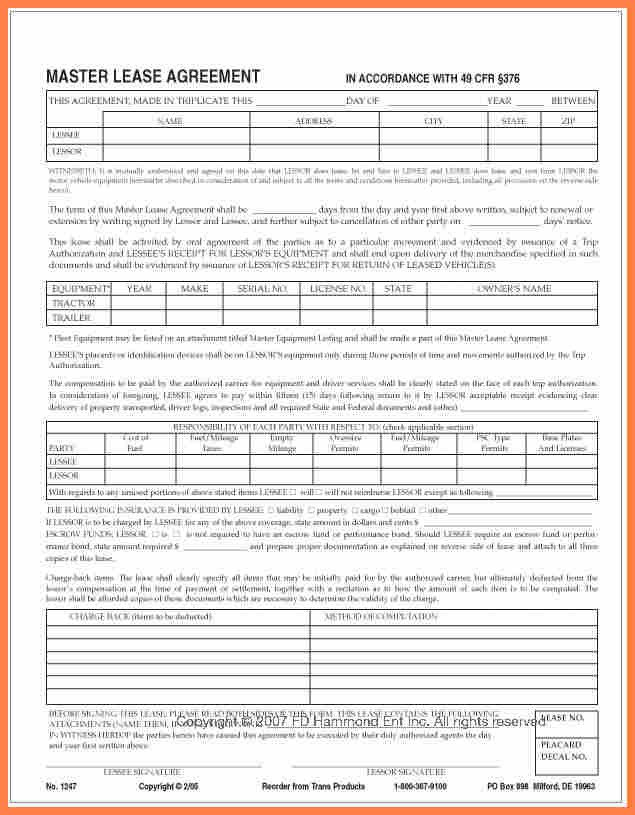 Owner Operator Contract Template 7 Owner Operator Lease Agreement Template