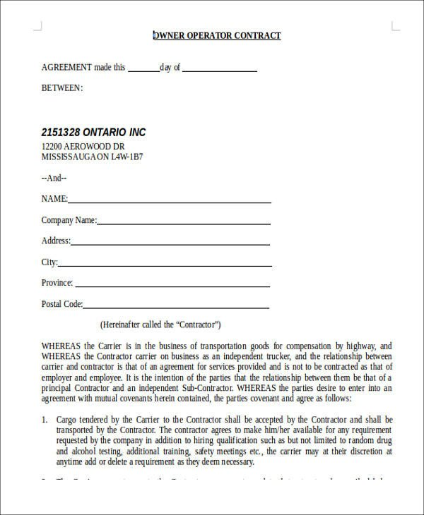 Owner Operator Contract Template 8 Owner Operator Lease Agreement Sample Free Sample