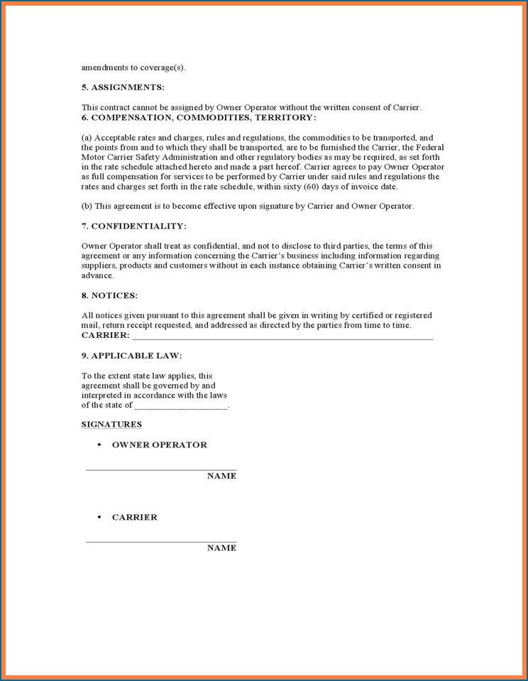 Owner Operator Contract Template New Lease Agreement Owner Operator Truck Drivers