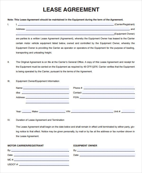 Owner Operator Contract Template Owner Operator Lease Agreement