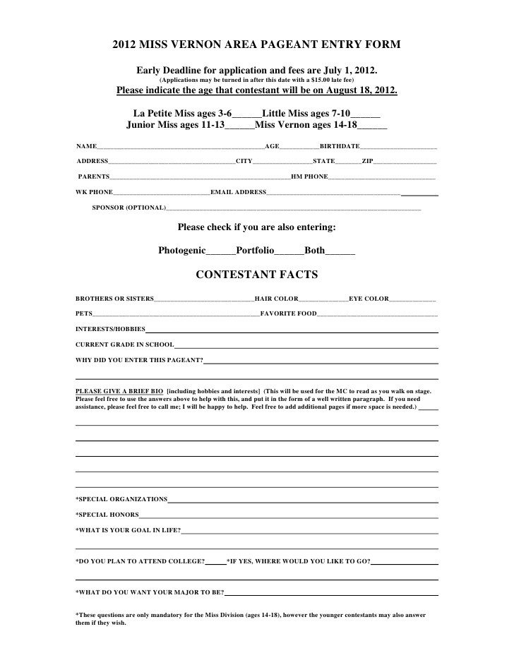Pageant Entry form Template 2012 Pageant Application