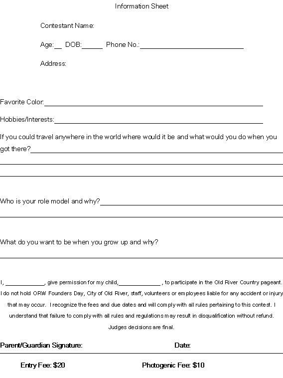 Pageant Entry form Template 3rd Annual Old River Country Natural Beauty Pageant