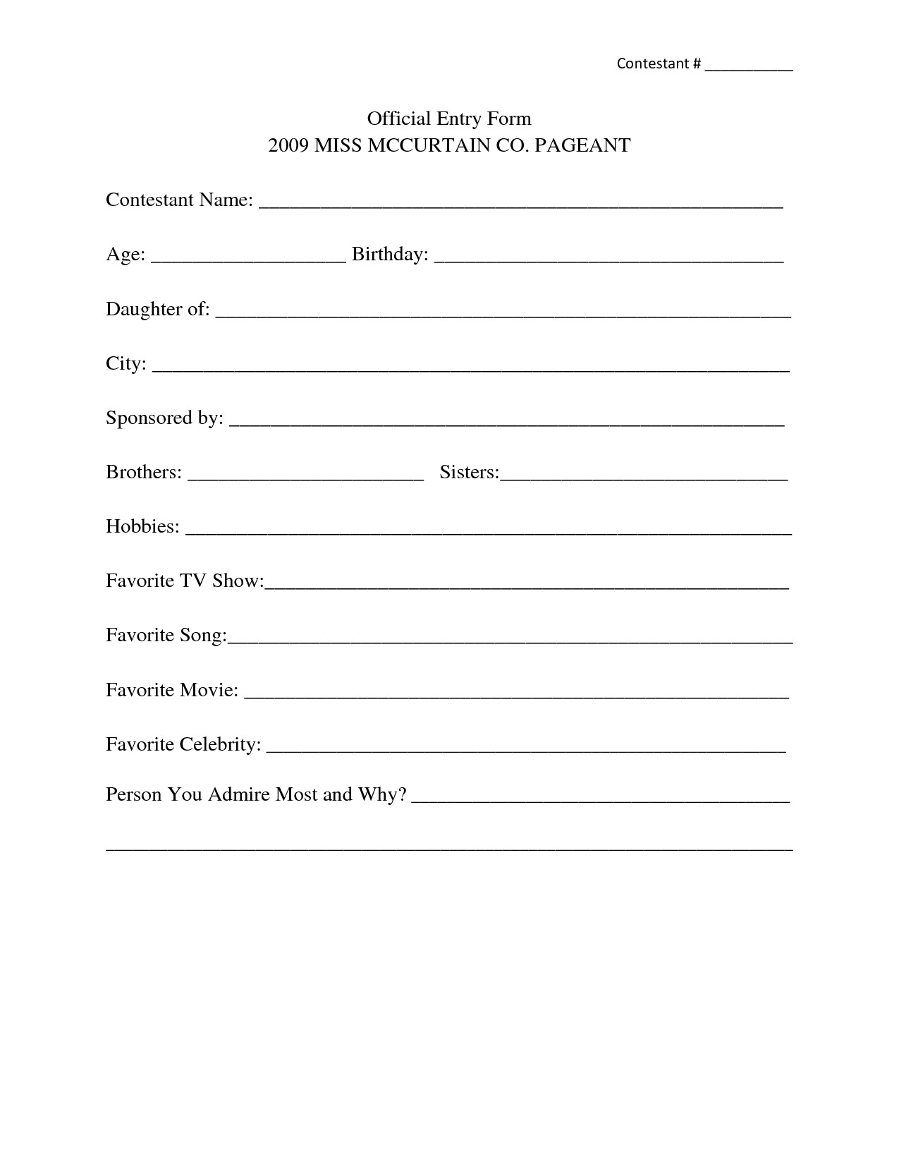 Pageant Entry form Template Application form Design Template