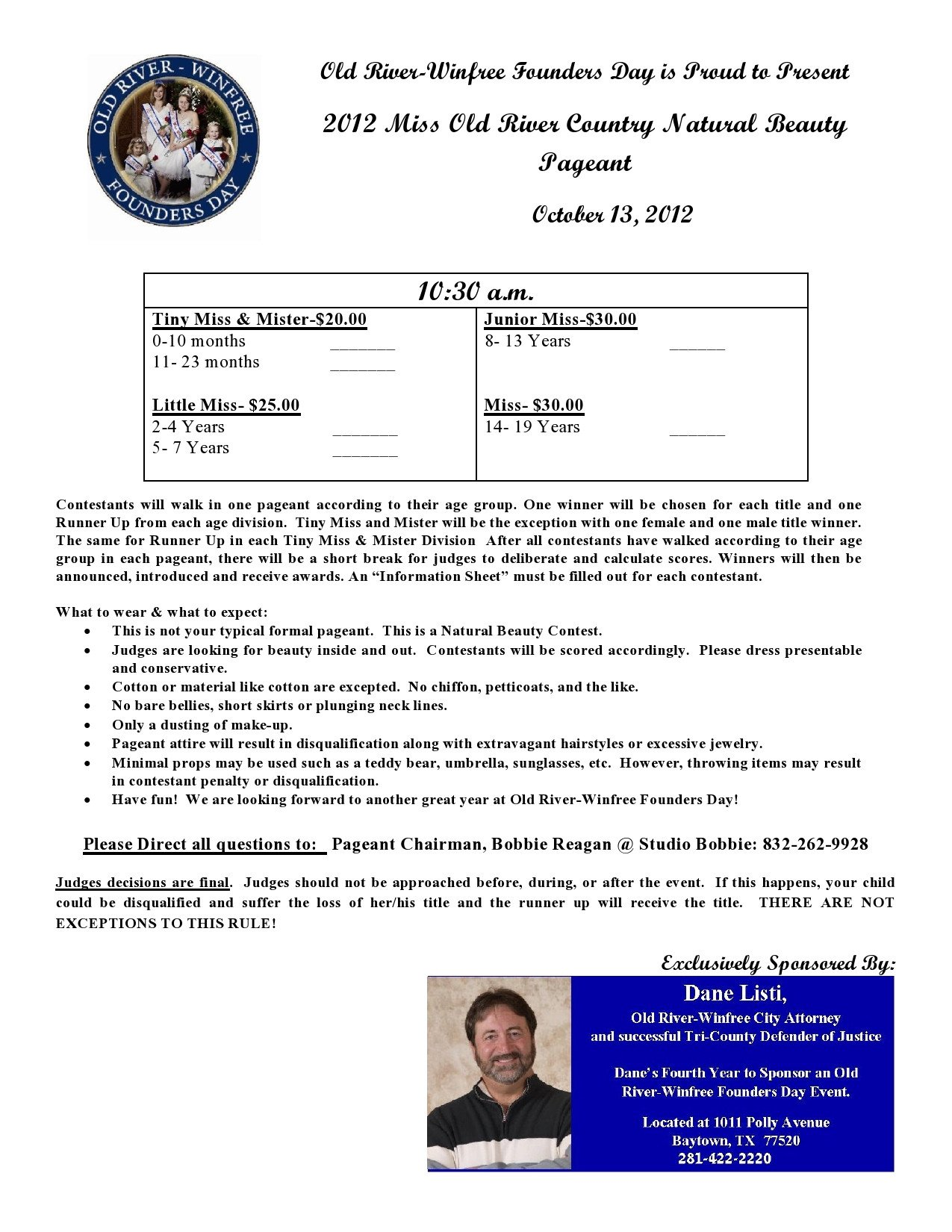 Pageant Entry form Template Chambers County Texas
