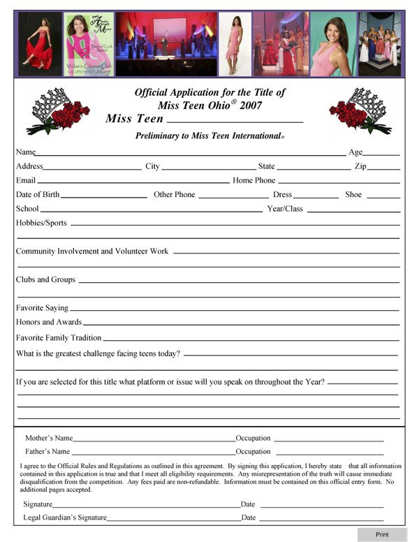 Pageant Entry form Template Entry form Template